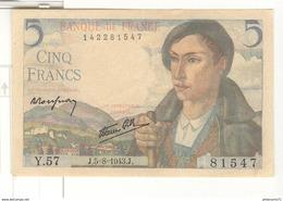 Billet 5 Francs Berger 05-08-1943 TTB+ - 1871-1952 Circulated During XXth