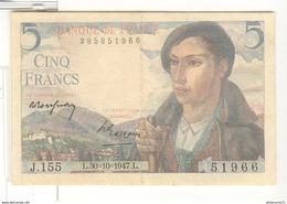 Billet 5 Francs France Berger 30-10-1947 TTB+ - 1871-1952 Circulated During XXth