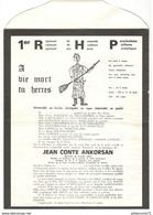 Avis De Décès Du Père 100 - 1er Régiment De Hussards Parachutistes - 1970 - Folklore Militaire - Documents