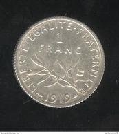 1 Franc France 1919 - TTB+ - H. 1 Franc