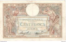 Billet 100 Francs France Merson 2-12-1937 - 1871-1952 Anciens Francs Circulés Au XXème