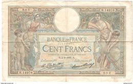 Billet 100 Francs France Merson 2-8-1926 Bon état Général Mais Grande Déchirure De 8 Cm - 1871-1952 Antichi Franchi Circolanti Nel XX Secolo