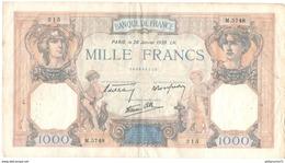 Billet De 1000 Francs 26-1-1939 - 1871-1952 Anciens Francs Circulés Au XXème