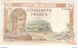 Billet 50 Francs France Cérès 21-9-1939 - 50 F 1934-1940 ''Cérès''