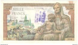 1000 Francs Déméter 20/06/1942 - Tampon Payé à L'encre Bleue ? - 1871-1952 Anciens Francs Circulés Au XXème