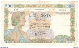 Billet 500 Francs France La Paix 09/04/1942 - 1871-1952 Gedurende De XXste In Omloop