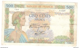 Billet 500 Francs France La Paix 31/10/1940 - 1871-1952 Gedurende De XXste In Omloop