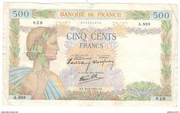 Billet 500 Francs France La Paix 26/09/1940 - 1871-1952 Gedurende De XXste In Omloop