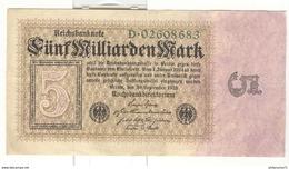 Billet 5 Milliards De Mark / Fünf Milliarden Mark 1923 - [ 3] 1918-1933 : Repubblica  Di Weimar
