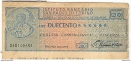Billet 200 Lires / Duecento Lire - Istituto Bancario San Paolo Di Turino - [ 1] …-1946 : Royaume