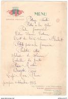 Menu Pompier 4 Décembre 1927 - Publicitaire Moine Demonfaucon - Pouilly Sur Loire - Menus