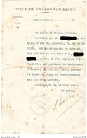 Certificat Mr X Peut Subvenir Aux Besoins De Son Beau-Fils Pendant La Durée De Son Congé De Convalescence - Chalon 1915 - Documents