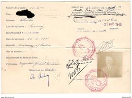 Carte De Circulation Temporaire En Auto , Train , Cars - Valable 29/03 Au 29/06 1940 - Dokumente