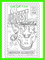 TIMBRES REPRÉSENTATIONS - CHILDRENS COLORING POST CARDS - LARGEST REPTILE, AMERICAN ALLIGATOR - - Timbres (représentations)