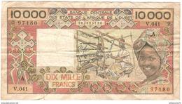 Billet 10 000 Francs Côte D'Ivoire - 1989 TB - Côte D'Ivoire