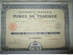 Action De 100 Francs Au Porteur - Mines De Thakhek ( Laos ) - 1928 - Mineral