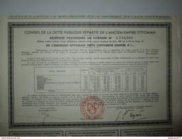 Récépissé Au Porteur Contre Retrait D'une Obligation De 500 Francs - Conseil De La Dette De L'empire Ottoman - 1933 - Banque & Assurance