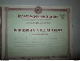 Action Nominative De 200 Francs - Union Des Coopérateurs De Lorraine - 15 Octobre 1946 - Banque & Assurance