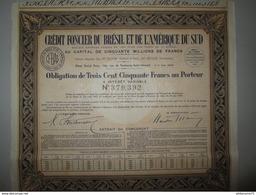 Obligation De 350 Francs Au Porteur - Crédit Foncier Du Brésil Et De L'Amérique Du Sud - 1940 - Bank En Verzekering
