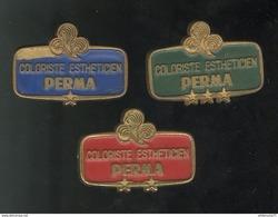 """Lot De 3 Badges """" Coloriste Estheticien """" PERMA Niveau 1 , 2 Et 3 - Autres"""