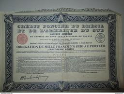 Obligation De 1000 Francs - Crédit Foncier Du Brésil Et De L'Amérique Du Sud - 1930 - Industrial