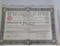 Obligation De Mille Francs - Crédit Foncier Du Brésil Et De L'Amérique Du Sud - 1928 - Industrie