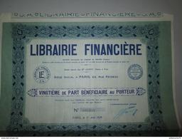 Vingtième De Part Bénéficiaire Au Porteur - Librairie Financière - 1929 - Industrial