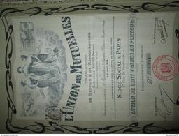 Action De 100 Francs Au Porteur - L'Union Des Mutuelles - Banque & Assurance