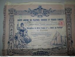 Obligation De 1000 Francs Société Anonyme Des Filatures Corderies Et Tissage D'Angers - 1931 - Industrial