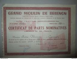 Certficat De Parts Nominatives Libérées De 100 Francs - Grand Moulin De Brienon - 1948 - Automovilismo