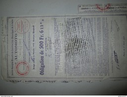 Obligation De 500 Francs Société Nouvelle De Constructions Mécanique De La Loire AUTOMOTO - 1928 - Industry