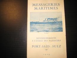 8201- 2018   LIVRET 1929 DES MESSAGERIES MARITIMES..PAQUEBOT PORTHOS..DESTINATION PORT.SAID.SUEZ- - Bateaux