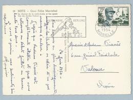 N° 984 Sur CP Metz 24/6/54 Vers Valence Foire Expo De Metz - Postmark Collection (Covers)