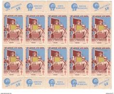 Planche 10 Vignettes Comité National De Défense Contre La Tuberculose 1949 - Erinnophilie