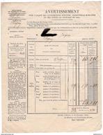 Avertissement Pour L'Acquit Des Contributions Foncière , Personnelle-Mobilière Et Des Portes Et Fenêtres De 1864 - France
