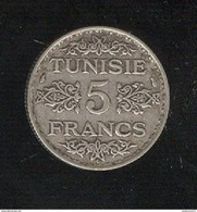 5 Francs Tunisie 1936 - Protectorat Français - TTB+ - Tunisia