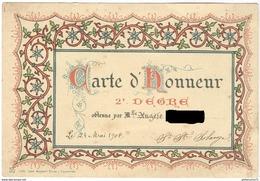 Carte D'Honneur - Pensionnat Des Dames De Saint-Maur à Chalon Sur Saône - 24 Mai 1901 - Diplômes & Bulletins Scolaires