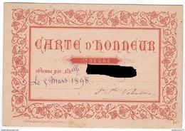 Carte D'Honneur - Pensionnat Des Dames De Saint-Maur à Chalon Sur Saône - Mars 1898 - Diplômes & Bulletins Scolaires