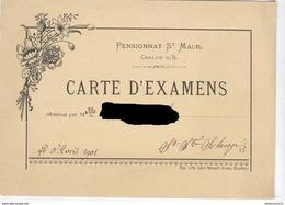 Carte D'Examens - Pensionnat Des Dames De Saint-Maur à Chalon Sur Saône - 5 Avril 1901 - Diplômes & Bulletins Scolaires
