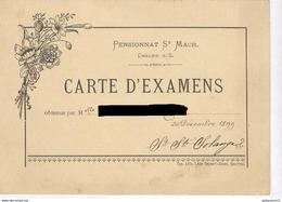Carte D'Examens - Pensionnat Des Dames De Saint-Maur à Chalon Sur Saône - 30 Décembre 1899 - Diplômes & Bulletins Scolaires