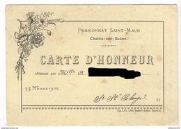 Carte D'Honneur - Pensionnat Des Dames De Saint-Maur à Chalon Sur Saône - 28 Mars 1902 - Diplômes & Bulletins Scolaires