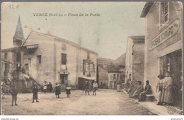 Cpa Verzé - Place De La Poste - Dos Divisé - Circulée 1908 - Other Municipalities