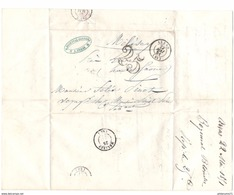 Marcophilie - Lettre De Arras à Mélisey Via Paris - 1851 - Tampon Taxe 25 - Marcophilie (Lettres)