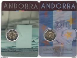 Lot 2 X 2€ Comémoratives Andorre 2015 - 30ème Anniv De La Majorité à 18 Ans + 25 Ans De L'accord Douanier Avec L'Eu - Andorre