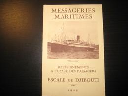 8204- 2018   LIVRET 1929 DES MESSAGERIES MARITIMES..PAQUEBOTCHENONCEAUX ..DESTINATION ESCALE DE DJIBOUTI - Bateaux