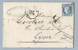 N° 60C Sur Convoyeur Station De St Dié Vers Lyon 7/12/7510/4/1875 - Poststempel (Briefe)