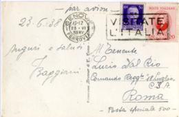 MARCONI G. 20c. + IMPERIALE 50 C. Da Genova Per Posta Speciale 500 1938 Guerra Di Spagna  Card Santa Margherita Ligure - 1900-44 Vittorio Emanuele III