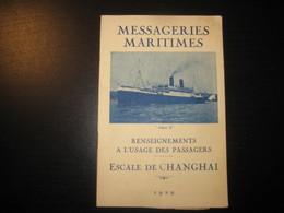 8205- 2018   LIVRET 1929 DES MESSAGERIES MARITIMES..PAQUEBOT ATHOS II ..DESTINATION ESCALE DE CHANGHAI - Bateaux