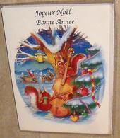 5 Cartes Joyeux Noel Et Bonne Année, Avec écureuils Jouant Du Violoncelle: 5 Cartes Identiques Dont 4 Avec Enveloppes - Noël
