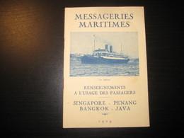 8206- 2018   LIVRET 1929 DES MESSAGERIES MARITIMES..PAQUEBOT LE SPHINX ..DESTINATION SINGAPORE-PENANG-BANKOK-JAVA - Bateaux